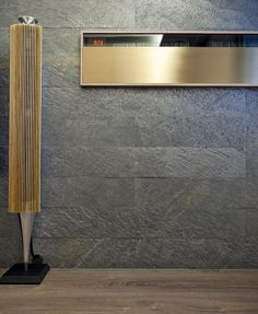 Galaxy Black Slate veneer textured feature wall.