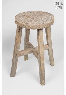 elm wood antique round stool