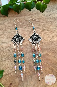 Tribal crystal earrings , Pink and Green Blue Earrings, Boho Earrings, Chandelier Earrings, Long Earrings, Ethnic Earrings, Boho jewelry, Boho Gift #bohochic #bohojewelry #earrings #bohostyle #crystalearrings