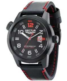 SECTOR OverSize Black And Red Leather Strap  205€  http://www.oroloi.gr/product_info.php?products_id=30898