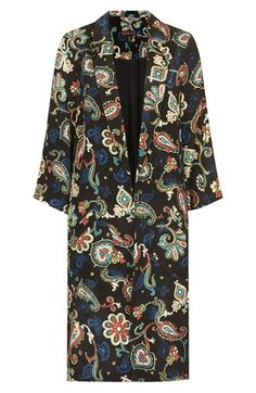 Kate Moss for Topshop Paisley Print Silk Overcoat | Nordstrom
