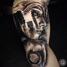 Tattoo artist Benji Roketlauncha Ortega authors style black&grey and color portrait realism, surrealism   Sydney, Australia