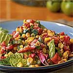 Greens with Roasted Corn and Pepper Salad Recipe | MyRecipes.com