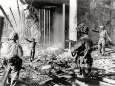 Japanese soldiers surrendering to U.S. soldiers, Marshall Islands, 1944