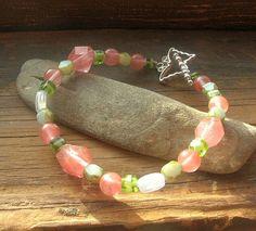 Butterfly strung beaded bracelet Cherry quartz Czech by kmaylward