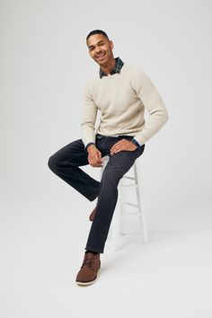Dress up in our versatile denim range to look smart while still being super comfortable. Jean Jumper, Jumper Shirt, Versatile Denim, Double Denim, Denim Shop, Mens Fashion, Fashion Outfits, Casual Jeans, Mens Clothing Styles