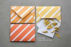 Plantilla imprimible para sobres inspirados en los colores de otoño >> DIY Fall Envelopes + Free Printable