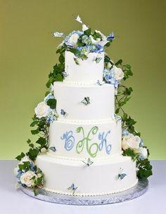 Cascade Garden Monogram Cake Monogram Cake, Monogram Wedding, Cake Gallery, Wedding Cakes, Main Street, Pastries, Cake Toppers, Desserts, Party Ideas