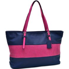 Dasein Two Tone Mesh Panel Tote Bag Handbag (Navy Blue/Pink), Women's (leather, solid) Pink Shoulder Bags, Shoulder Handbags, Leather Satchel, Leather Purses, Leather Totes, Pink Leather, Leather Handbags, Laptop Tote Bag, Cute Tote Bags