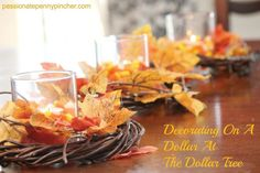 On A Dollar At The Dollar Tree Dollar Tree Fall Decorating. You can use corn or another filler if candy corn is too tempting :-)Dollar Tree Fall Decorating. You can use corn or another filler if candy corn is too tempting :-) Dollar Tree Fall, Dollar Tree Decor, Dollar Tree Crafts, Diy Thanksgiving, Thanksgiving Decorations, Fall Table Decorations, Thanksgiving Tablescapes, Table Centerpieces, Centerpiece Ideas