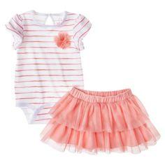Cherokee® Newborn Infant Girls' Striped Bodysuit and Skirt Set $16