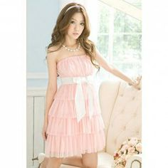 $7.31 Refreshing and Graceful Wrapped Chest Layered Frills Strapless Chiffon Dress For Women