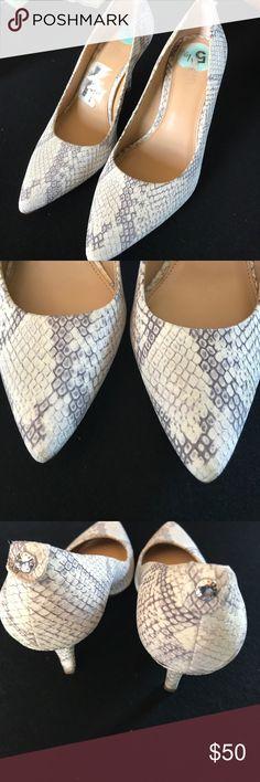 Michael Kors snake skin heels worn only once Michael Kors snake skin heels worn only once. 5 1/2 Michael Kors Shoes Heels