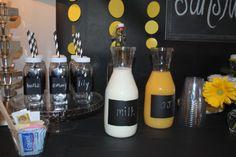 You Are My Sunshine party - 2nd birthday - Plastic milk bottles, black/white stripe straws from CuteKidsFoodBox