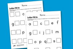 Free printable! Fill in the missing alphabet letter.