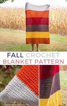 Fall Blanket Crochet Pattern featuring the HHDC crochet stitch. Free pattern from Rescued Paw Designs Crochet Abbreviations, Basic Crochet Stitches, Afghan Crochet Patterns, Crochet Basics, Crochet Afghans, Crochet Patron, Knit Crochet, Blanket Crochet, Dishcloth Crochet