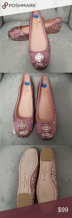 Kate Spade Pink & gold glitter sparkle flats Beautiful Kate spade glimmer shoes.BRAND NEW, unworn .no box kate spade Shoes Flats & Loafers