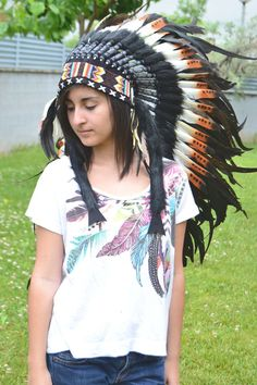 Medium Indian Three color and Dark green Feather Headdress (36  inch long )