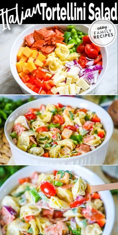 Italian Tortellini Salad · Easy Family Recipes I love salad that incorporates pasta. Tortellini Salad is one of my go to salads for an easy weeknight meal or lunch. Pasta Salad With Tortellini, Tortellini Recipes, Pasta Recipes, Chicken Recipes, Easy Family Meals, Easy Weeknight Meals, Family Recipes, Easy Dinners, Taco Salad Recipes