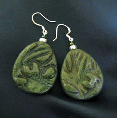 https://flic.kr/p/4m7Ykp | Sterling Silver Polymer clay inked earings | The green is a little more translucent and with slightly more subtle gold highlights than pic portrays...
