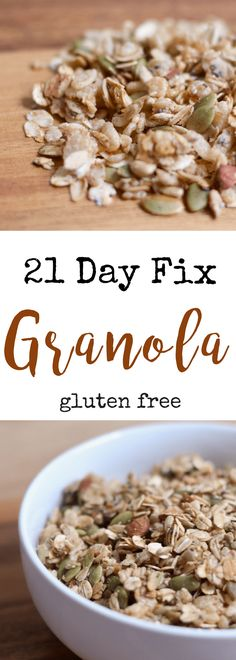 21 Day Fix Granola (gluten free/dairy free) - Confessions of a Fit Foodie - 21 Day Fix Granola 21 Day Fix Snacks, 21 Day Fix Diet, 21 Day Fix Meal Plan, Fixate Recipes, Healthy Recipes, Healthy Food, Meatless Recipes, Healthy Meals, Granola Sans Gluten