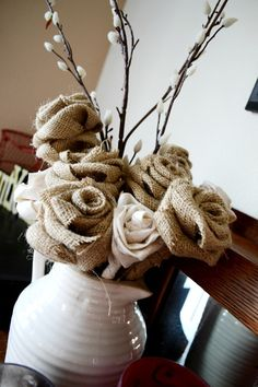 Love the burlap roses! Burlap Projects, Burlap Crafts, Crafty Projects, Burlap Wreath, Burlap Flowers, Diy Flowers, Fabric Flowers, Real Flowers, Home Crafts