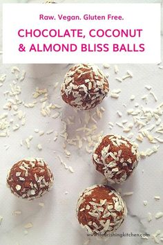 Ready 10! Chocolate, coconut and almond bliss balls. Squidgy, chocolatey and delicious raw vegan snack. Raw food diet. Raw vegan gluten-free. Get the recipe :) #flourishingkitchen #EnergyBalls #Chocolate #RawVeganRecipes