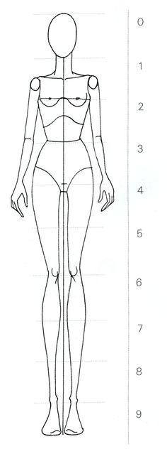 Opdracht 5: modefiguur/frontaal/9 hoofdlengtes
