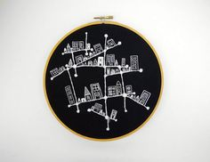 Black and White Hand Embroidered Constellation City 8 inch Embroidery Hoop Fiber Art by SometimesISwirl. $100.00, via Etsy.