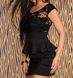 Flounce Waist Lace Patchwork Black Tight Dress