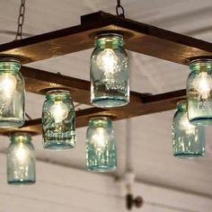 New one Hanging Mason Jar Lights, Mason Jar Light Fixture, Mason Jar Lighting, Mason Jar Lamp, Light Fixtures, Ball Jar Lights, Diy Hanging, Light Fittings, Rustic Lighting