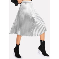 SheIn(sheinside) Pleated Metallic Skirt (68 PEN) ❤ liked on Polyvore featuring skirts, metallic skirt, summer skirts, metallic pleated skirt, knee length skirts and knee high skirts
