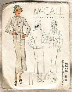 McCall 8226 | 1935 Ladies' & Misses' Two-Piece Suit