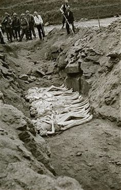 Austrian civilians forced to bury the victims at Mauthausen