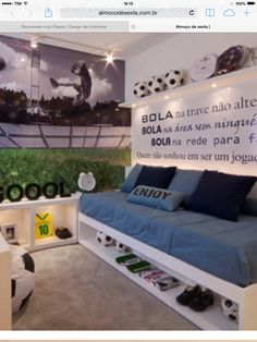 Nice Quarto Decorado Futebol that you must know, Youre in good company if you?re looking for Quarto Decorado Futebol Soccer Room Decor, Soccer Bedroom, Football Bedroom, Kids Bedroom, Hypebeast Room, Football Rooms, Bedroom Themes, Boy Room, Decoration