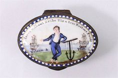 A rare mid-18th˜Century English Staffordshire enamel patch box To serve without Bribe Tis a true