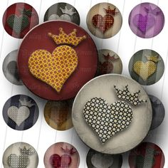 INSTANT DOWNLOAD Royal Hearts Digital Art Images by greenvalley (Craft Supplies & Tools, Scrapbooking Supplies, Scrapbooking Clip Art, digital sheet, digital images, bottle cap, bottlecap, round, circle, pendant, jewelry, crafts, scrapbooking, designer images, printable)