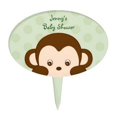Shop Mod Monkey Cake Topper Cupcake Topper created by PoshPartyPrints. Mod Monkey, Cute Monkey, Monkey Baby, Cake Decorating With Fondant, Cake Picks, Personalized Cake Toppers, Jungle Party, Cupcake Toppers, Girl Birthday