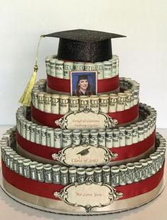 Attractive Money Cake Decorations pertaining to How I Built My Stepdaughter& Money Cake – Maria Kang Picture Money Birthday Cake, Money Cake, Birthday Gifts, Money Lei, Earn Money, Graduation Celebration, Graduation Day, Creative Money Gifts, Money Gifting