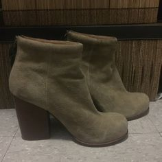 Jeffrey Campbell Booties  I'm an 8 and they fit well. Only worn once for a few hours. Small mark {pic 2} on shoe but can't notice when on Jeffrey Campbell Shoes Ankle Boots & Booties