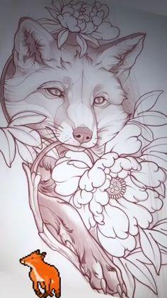 Fox Tattoo Design, Tattoo Design Drawings, Fox Design, Tattoo Sketches, Dark Art Drawings, Animal Drawings, Cool Drawings, Black Ink Tattoos, Body Art Tattoos