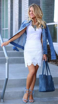 LOVIKA   40 Stylish denim jacket outfit ideas to wear this Spring with white dress