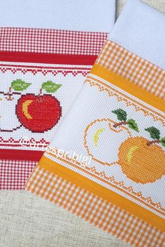 Towel Embroidery, Cross Stitch Embroidery, Cross Stitch Collection, Decorative Towels, Bargello, Tea Towels, Diy And Crafts, Patches, Sewing