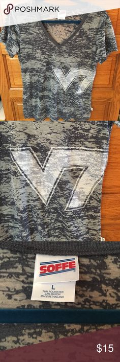 VT shirt Great condition v-neck Virginia Tech shirt. VT symbol on front and side. Blue grey color. Burnout style shirt. Super soft and comfortable. Worn once. Just too big for me. Go Hokies!! Soffe Tops Tees - Short Sleeve