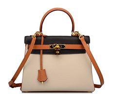 Ainifeel Women's Padlock Shoulder Handbags Hobo Bag (28 cm, Brown/Black/Taupe)
