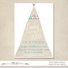teepee invitation - modern simple kids birthday - baby shower - camp out - sleep over - DIY - digital printable - boy - girl