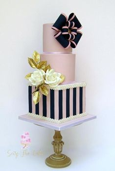Elegant Bow Cake - cake by Seize The Cake Elegant Birthday Cakes, Elegant Wedding Cakes, Elegant Cakes, Wedding Cake Designs, Beautiful Cake Designs, Gorgeous Cakes, Pretty Cakes, Bow Cakes, Fondant Cakes