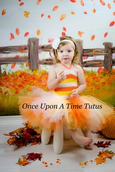 Candy Corn Trick or Treat Tutu Dress - Pageant Wear Gown - Girls Size 3 6 9 12 18 Months 2T 3T 4T 5T 6 7 8 10 12 - Orange White Yellow
