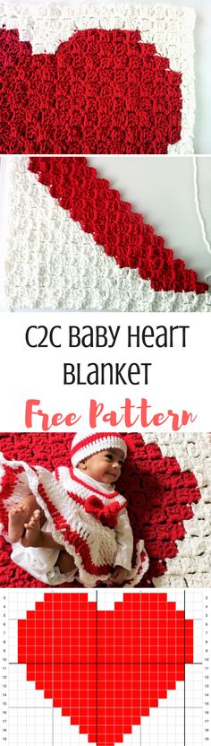 A heart for your little love! This C2c heart Blanket Pattern works up quickly and is perfect for a new baby! Get the free pattern by clicking through.