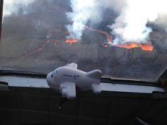 """Freyr the plane got a ride with a big brother to see the eruption #Freyrtheplane #Holuhraun #Bardarbunga  From """"Iceland: Eruption at Bárðarbunga volcano 2014"""" story by Harpa Hrönn Frankelsdóttir on Storify — https://storify.com/harpafrankels/eruption-at-bar-arbunga-2014"""